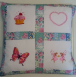 PERSONALISED EMBROIDERED CUSHION (Cupcake, Butterfly and Fairies)